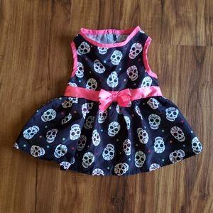Cat or Dog sleeveless skull pattern dress